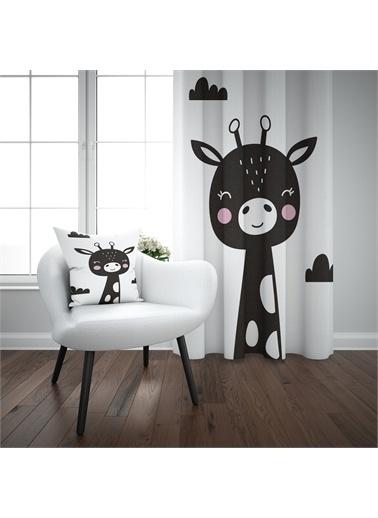 Else Halı Siyah Beyaz Zürafa  İskandinav Desenli Çocuk Perdesi Renkli